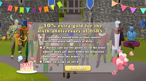 10% Free Gold For The Sixth Anniversary of OSRS in 2019!