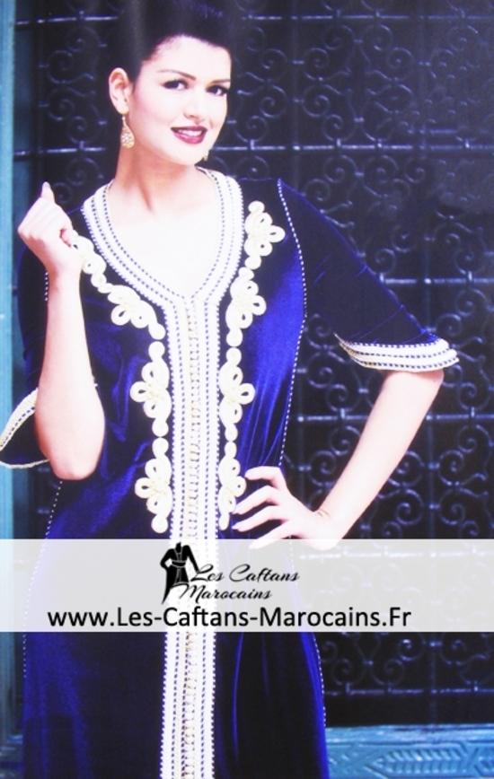 Caftan bleu en ligne pour mariage marocaine nouveauté 2015 KAF S1052-fr