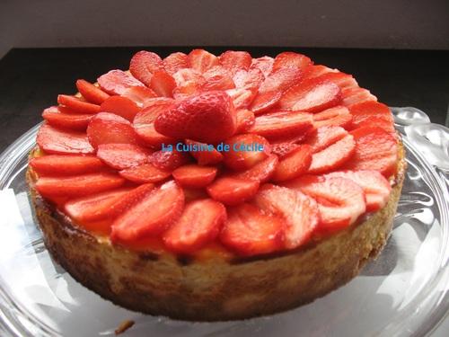 Cheesecake aux fraises à la rose