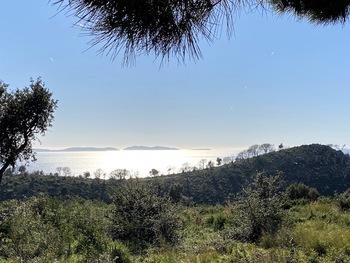 Dans la descente sur Gigaro. Au fond, de gauche à droite, le Levant, Port-Cros et Bagaud