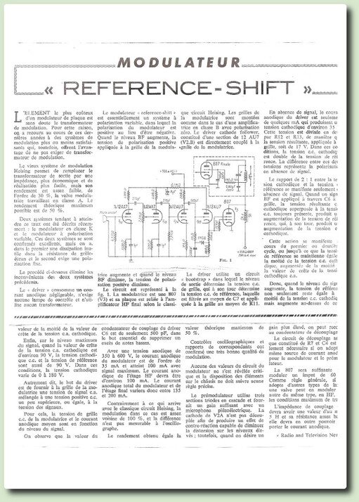 "Emetteur AM 807 modulée par une 807 ""Reference- shift"""