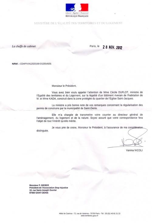 Lettre de la ministre du logement  du 28.11.2012