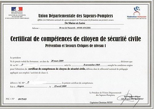 certificat 1er secours