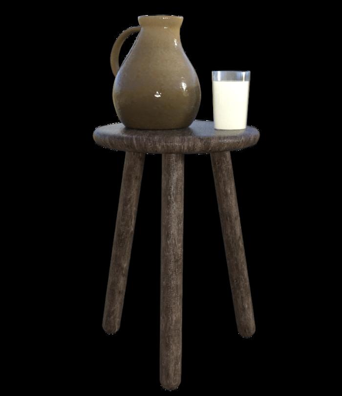 Tube verre et pichetde lait (image-render)