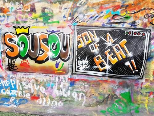 atelier graff durant 1 journée Lycée Louis Pasteur La Canourgue (48) 10 jeunes : Historique et valeurs du graff, initiation sur affichette, mars 2017