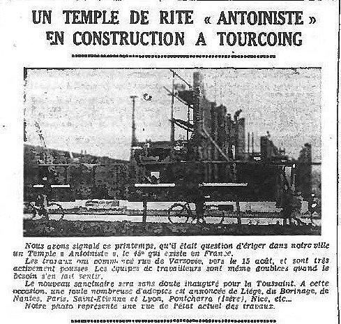 Un temple de rite Antoiniste en construction à Tourcoing