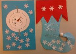 Un bonhomme de neige et une botte d'elfe