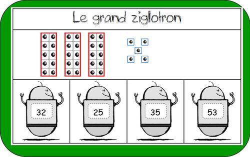 Jeux des grands ziglotrons (dizaine - unité)