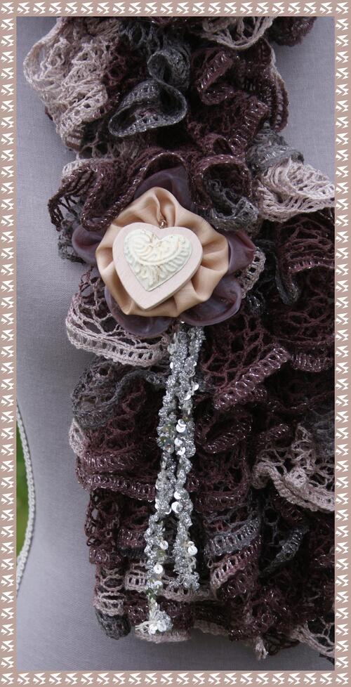 Echarpe frous-frous chocolat lurex