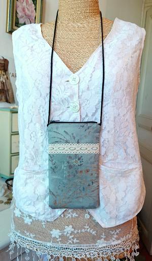 Etui molletonné téléphone mobile, lunettes, maquillage, 17,5 x 10 cm, avec cordon, tissu coton imprimé japon bleu / gris motifs végétaux / fermeture éclair