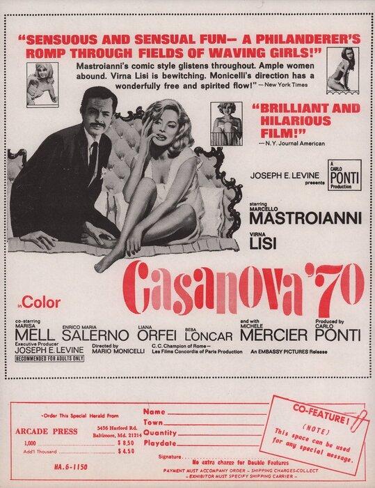 CASANOVA 70 BOX OFFICE USA 1965
