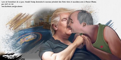 dessin de JERC vendredi 20 janvier 2017 caricature Donald Trump Vladimir Poutine investiture de Trump : premier temps fort de son mandat, après sa sextape en Russie biensur. www.facebook.com/jercdessi