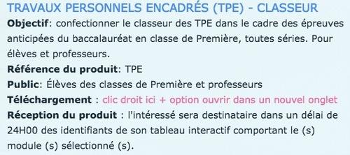 PRODUCTIVITÉ - CLASSEUR ÉLÈVE TPE
