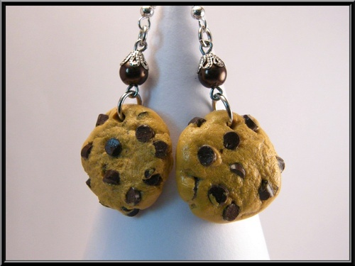 Boucles d'oreille cookies pépites de chocolat en fimo