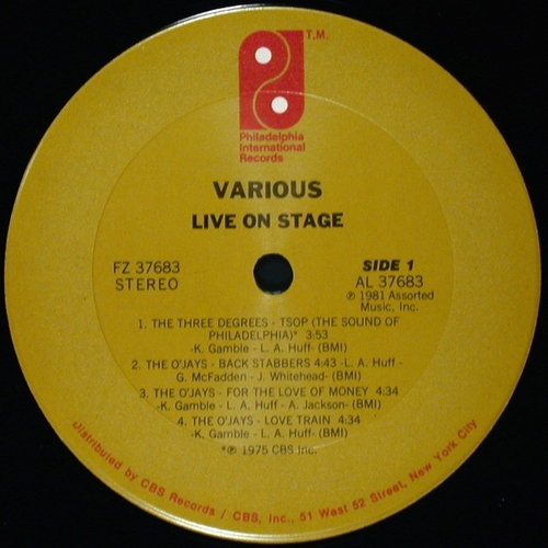 "1981 : Various Artists : Album "" Live On Stage "" Philadelphia International Records FZ 37683 [ US ]"
