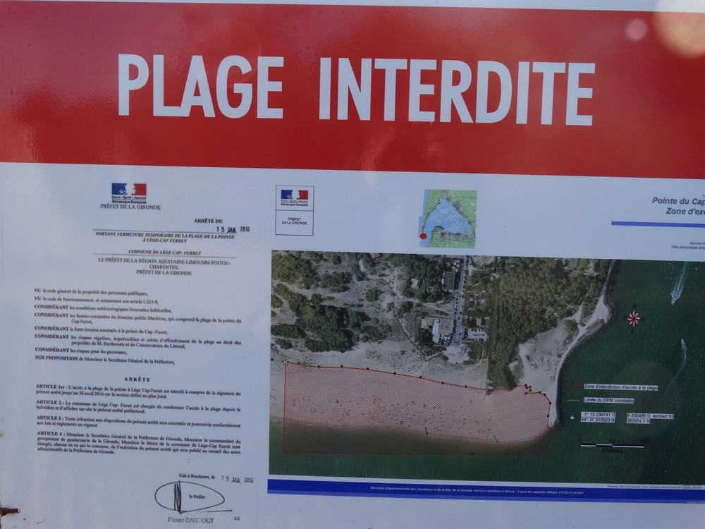 Janvier 2016 - La plage de La Pointe est fermée...