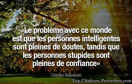 Citation confiance : Le problème avec ce monde est que les personnes intelligentes sont pleines de d...