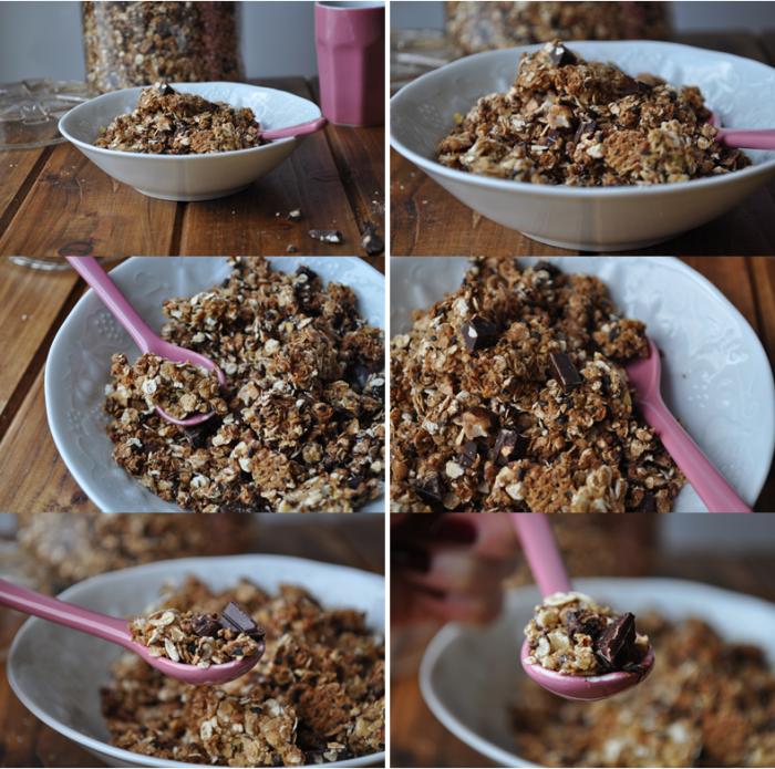 Granola maison (pistaches, noisettes, chocolat croquant)