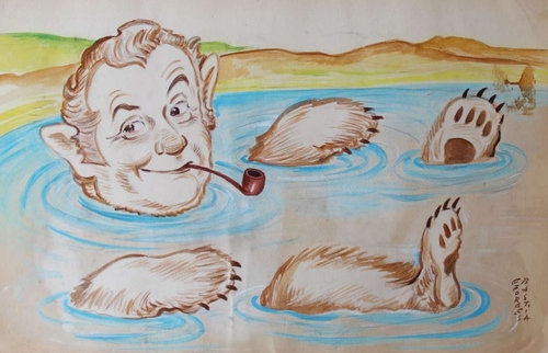Jean Richard par le caricaturiste