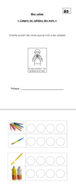 Cahier d'activités GS : «Compte les syllabes»