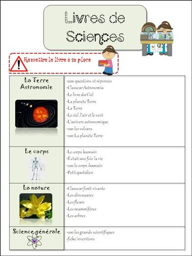 Table de sciences: affiche livre