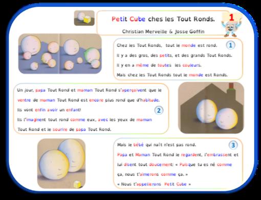 Petit Cube chez les Tout Ronds : texte dys