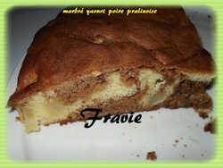 marbré au yaourt poire-pralinoise
