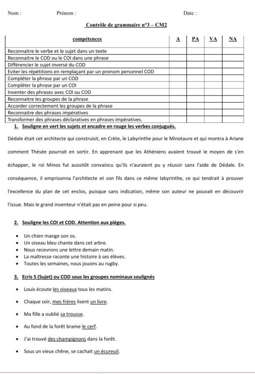 français : contrôle - évaluation de grammaire - CM2 - période 3