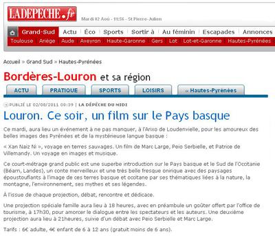 La Dépêche du Midi - 02 août 2011