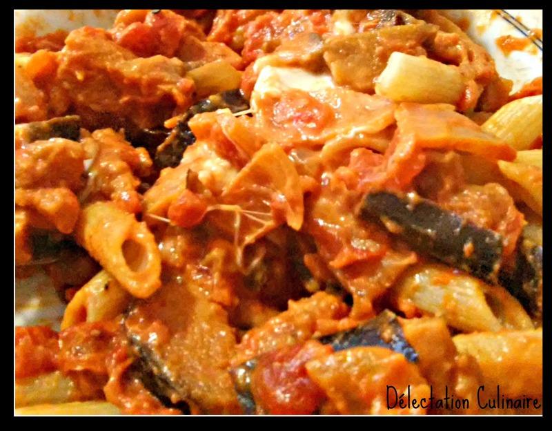 Pâtes aux tomates, aubergines et mozzarella // RONDE INTERBLOG