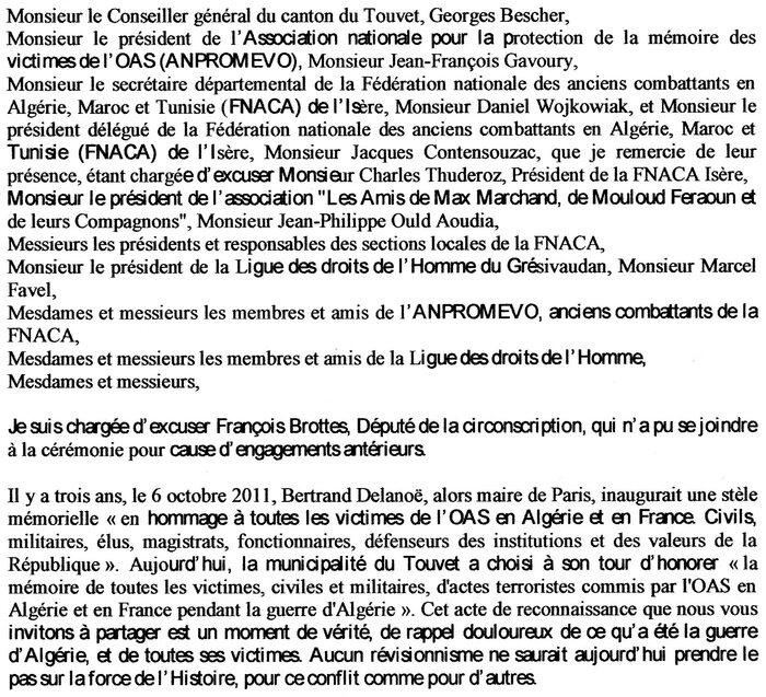 Le Touvet (Isère) Cérémonie de dévoilement d'une plaque commémorative en hommage à toutes les victimes de l'OAS