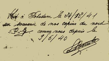 Carnet de route . Signature de Louis Bouet Leboeuf sur son carnet