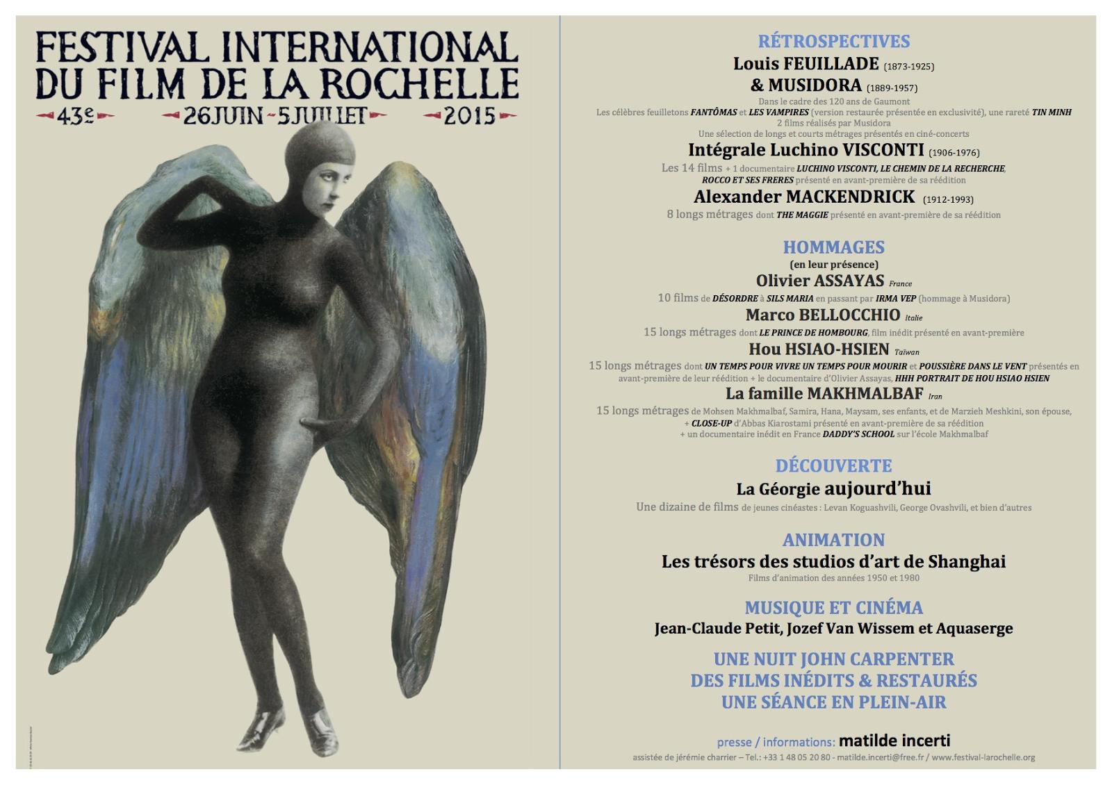 Annonce festival du film de La Rochelle 2015