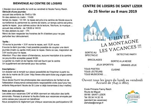Centre de Loisirs - Vacances Hiver 2019