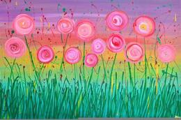 Abstract Flowers - Pink, Purple, Gold - by Louise Mead from