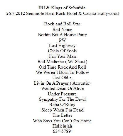 Jon bon Jovi & Kings of Suburbia Lle 26 juillet 2012
