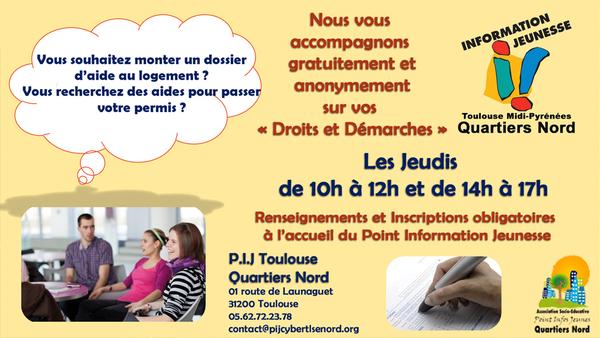 """Accompagnement """"Droits et Démarches"""" au PIJ Nord de Toulouse"""