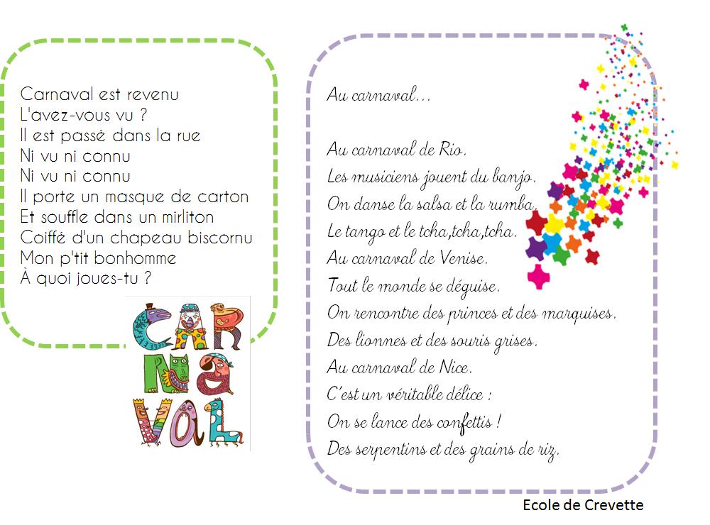 Favori Poésies autour du Carnaval - L'école de Crevette EJ14