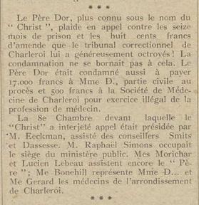 Père Dor en appel (La métropole d'Anvers, 16 mai 1917)