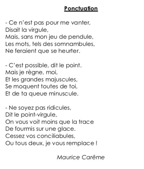 Poésie Ce2 Ponctuation Maurice Carême Locazil