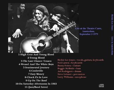 Tiens! V'là du live! Le retour - Jour 4 : Rickie Lee Jones - Amsterdam - 3 Septembre 1979