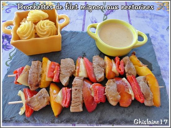Brochettes de filet mignon aux nectarines