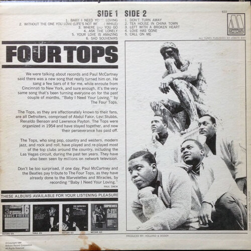 "The Four Tops : Album "" Four Tops "" Motown Records MT 622 [ US ]"