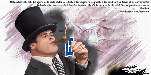 dessin de JERC mardi 14 mars 2017 caricature privatisation de la santé Tu n'as pas d'argent, tu n'es pas malade www.facebook.com/jercdessin