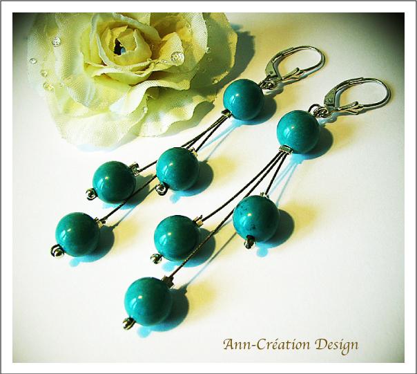 Boucles d'Oreilles Dormeuses Grappe Perles Turquoise naturelle / Argent 925