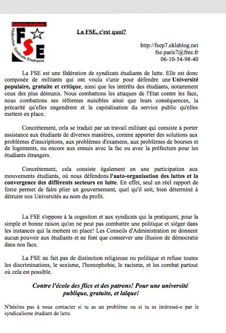 Présentation de la FSE Paris 7