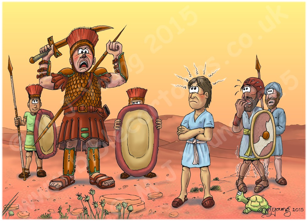 1 Samuel 17 - David and Goliath - Scene 01 - David sees Goliath jeering