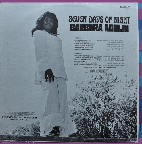 "Barbara Acklin : Album "" Seven Days Of Night "" Brunswick Records BL 754148 [ US ]"