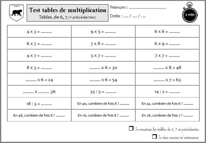 Tables de multiplication - Enveloppes MHM et blasons