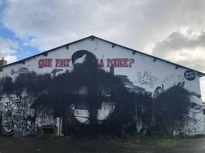 Nantes. La fresque en hommage à Steve recouverte de noir et d'une croix celtique